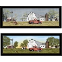 Trendy Decor 4U Billy Jacobs Summer/Spring Seasonal 2-Piece Vignette, Black Frame, 39