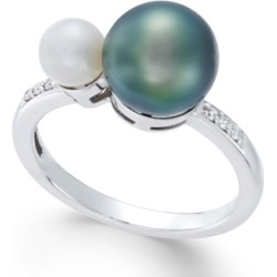 Cultured Freshwater Pearl (8mm and 5mm) and Diamond Accent Ring in 14k White Gold