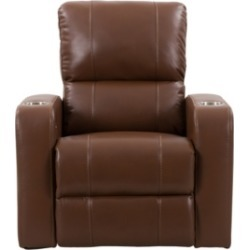 Corliving Distribution Tucson Home Theater Single Power Leather Gel Recliner with Stainless Steel Cup Holders