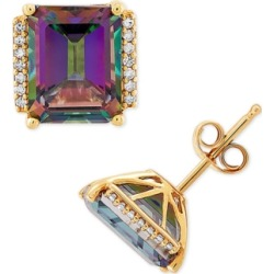 Mystic Topaz (5-3/4 ct. t.w.) & Diamond (1/10 ct. t.w.) Stud Earrings in 14k Gold found on Bargain Bro India from Macy's for $420.00
