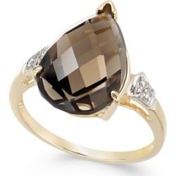 Smoky Quartz (5-3/4 ct. t.w.) & Diamond (1/20 ct. t.w.) Statement Ring in 14k Gold found on Bargain Bro Philippines from Macy's for $308.70