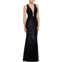 Xscape Sequinned V-Neck Gown