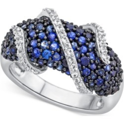 Lab-Created Blue Sapphire (2-1/3 ct. t.w.) and White Sapphire (1/4 ct. t.w.) Ring in Sterling Silver