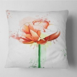 "Designart Rose With Stem And Paint Splashes Floral Throw Pillow - 16"" X 16"""