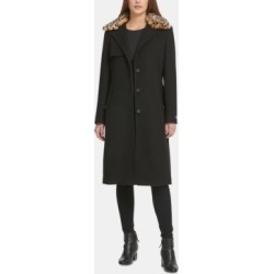 Dkny Leopard-Print Faux-Fur-Collar Coat found on MODAPINS from Macy's for USD $209.99