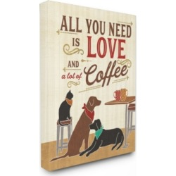 """Stupell Industries All You Need is Love and Coffee Cats Dogs Canvas Wall Art, 24"""" x 30"""""""