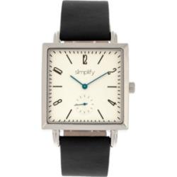 Simplify Quartz The 5000 White Dial, Genuine Black Leather Watch 38mm