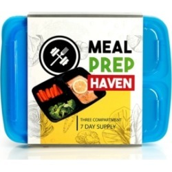 California Home Goods Meal Prep Haven 3 Compartment Food Containers, Set of 7