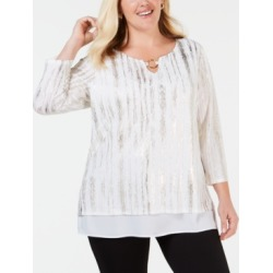 Jm Collection Plus Size Layered-Look Metallic Top, Created for Macy's found on Bargain Bro India from Macys CA for $21.70