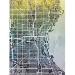 Michael Tompsett Milwaukee Wisconsin City Map Blue Yellow Canvas Art - 20