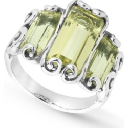 Carolyn Pollack Lemon Quartz (6-3/4 ct. t.w.) Triple Faceted Rectangle Ring in Sterling Silver