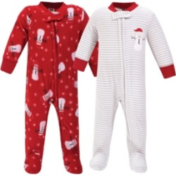 Hudson Baby Baby Girls and Boys Santa Snowman Fleece Sleep and Play, Pack of 2