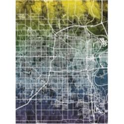 Michael Tompsett Omaha Nebraska City Map Blue Yellow Canvas Art - 20
