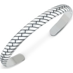 Esquire Men's Jewelry Patterned Cuff Bracelet in Sterling Silver, Created for Macy's