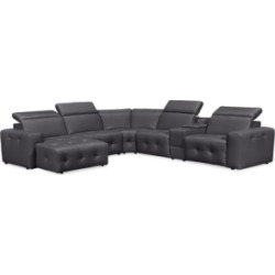 Haigan 6-Pc. Leather Chaise Sectional Sofa with 1 Power Recliner, Created for Macy's