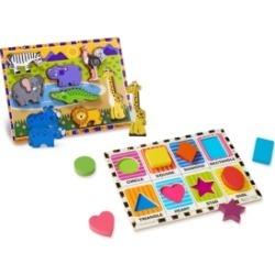 Melissa and Doug Chunky Puzzle Bundle - Safari and Shapes