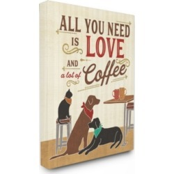 "Stupell Industries All You Need is Love and Coffee Cats Dogs Canvas Wall Art, 30"" x 40"""