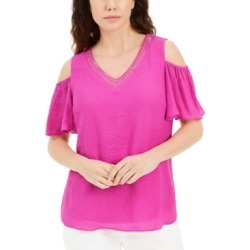 Jm Collection Studded Cold-Shoulder Woven Gauze Top, Created for Macy's found on Bargain Bro from Macy's for USD $16.57