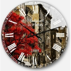Designart Floral Cityscapes Oversized Round Metal Wall Clock found on Bargain Bro Philippines from Macy's Australia for $212.05