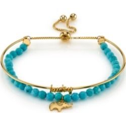 "Unwritten Gold Tone ""Lucky"" Elephant Turquoise Bead Bolo Bracelet"