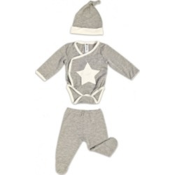 Earth Baby Outfitters Baby Boys Bamboo 3 Piece Star Embroidery Newborn Set