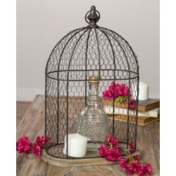 Vip Home International Metal and Wood Cage Decor