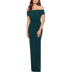 Xscape Glitter Off-The-Shoulder Gown