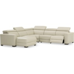 Nevio 5-pc Leather Sectional Sofa with Chaise, 2 Power Recliners and Articulating Headrests, Created for Macy's