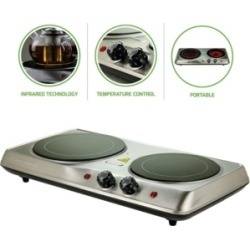 """Ovente Double-Plate 7"""" and 6.5"""" Cooktop Electric Infrared Burner"""
