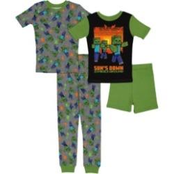 Minecraft Big Boys 4 Piece Cotton Pajama Set