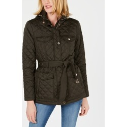 Michael Michael Kors Petite Water-Resistant Belted Hooded Quilted Jacket found on MODAPINS from Macys CA for USD $210.94