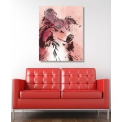 """Creative Gallery Drippy Sheltie Dog in Brown on Red 24"""" x 36"""" Acrylic Wall Art Print"""