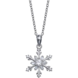 """Giani Bernini Cubic Zirconia Snowflake 18"""" Pendant Necklace in Sterling Silver, Created For Macy's"""