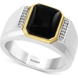 Effy Men's Onyx (11 x 9mm) & Diamond Accent Ring in Sterling Silver & 14k Gold