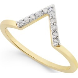 Diamond V Ring (1/10 ct. t.w.) in Sterling Silver or 18k Gold-Plated Sterling Silver found on Bargain Bro India from Macy's for $25.00
