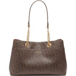 Calvin Klein Signature Chained Leather Satchel