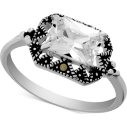 Swarovski Marcasite & Crystal Statement Ring in Fine Silver-Plate found on Bargain Bro Philippines from Macy's for $20.00