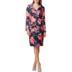 Tahari Asl Metallic Floral-Print Skirt Suit