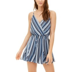 Trixxi Juniors' Striped Flirty-Hem Romper found on Bargain Bro India from Macy's for $21.99