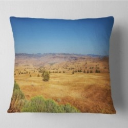 "Designart Prairie with Bright Blue Sky Landscape Printed Throw Pillow - 16"" x 16"""