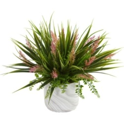 Nearly Natural Grass and Fern Artificial Plant in Marble Finished Vase