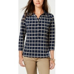 Charter Club Floral-Print V-Neck Polo Shirt, Created for Macy's found on MODAPINS from Macy's Australia for USD $31.53