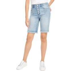 Oat Button-Front Denim Bermuda Shorts found on MODAPINS from Macy's for USD $39.99
