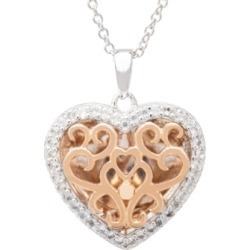 With You Lockets Mary White Topaz (1/5 ct. t.w.) Photo Heart Shaped Locket Necklace in 14k Rose Gold over Sterling Silver found on Bargain Bro Philippines from Macy's for $370.00