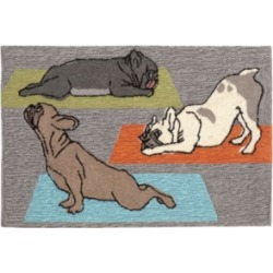 """Liora Manne Front Porch Indoor/Outdoor Yoga Dogs Heather 2'6"""" x 4' Area Rug"""
