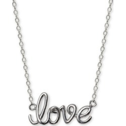 "Giani Bernini Love Script 18"" Pendant Necklace in Sterling Silver, Created For Macy's"