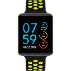 iTouch Unisex Air Black & Lime Silicone Strap Touchscreen Smart Watch 35x41mm, A Special Edition