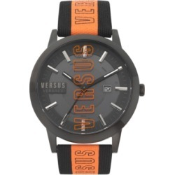 Versus by Versace Men's Barbes Solar Black & Orange Canvas Strap Watch 44mm found on Bargain Bro Philippines from Macy's for $185.00