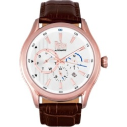 Reign Gustaf Automatic Rose Gold Case, Genuine Brown Leather Watch 43mm