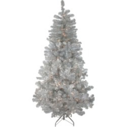 Northlight 4.5' Pre-Lit Silver Metallic Artificial Tinsel Christmas Tree - Clear Lights